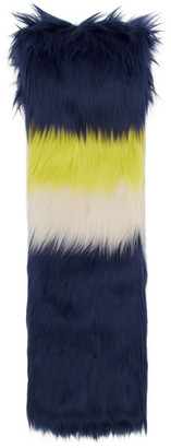 Gucci Navy and Multicolor Faux-Fur Scarf