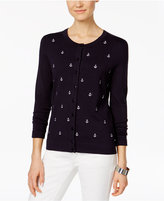 Charter Club Anchor-Embroidered Cardigan, Created for Macy's
