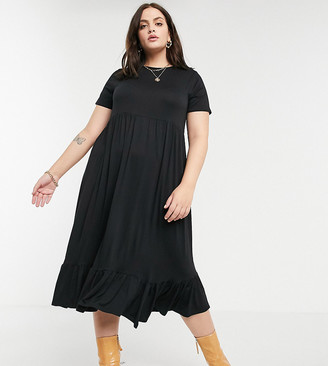 Yours loose-cut smock dress in black