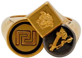 Versace Gold Logo Trio Ring