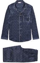 Derek Rose Brindisi Printed Silk Pyjama Set - Navy