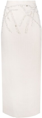 Loulou Pearl Embroidered Pencil Skirt