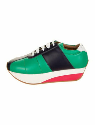 Marni Leather Colorblock Pattern Chunky Sneakers w/ Tags Green