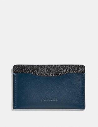 Coach Small Card Case With Signature Canvas Blocking