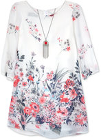 Amy Byer Floral-Print Shift Dress & Necklace Set, Big Girls (7-16)
