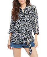 Free People Skyway Drive-in Printed Wrap Top