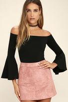 LuLu*s Good One Black Off-the-Shoulder Bodysuit