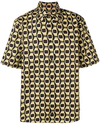 Roberto Cavalli Watch Print Button-Up Shirt