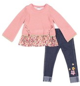 Little Lass Chiffon Criss Cross Sweater and Knit Denim Leggings, 2pc Outfit Set (Baby Girls & Toddler Girls)