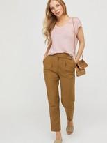 Monsoon Liza Stitch Detail Linen T-shirt - Blush Pink