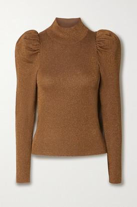 Alice + Olivia Alice Olivia - Issa Gathered Metallic Wool-blend Turtleneck Sweater - Camel
