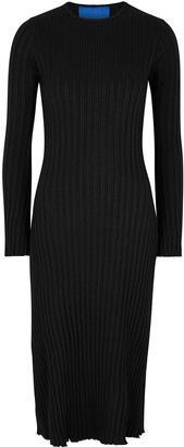 Simon Miller Wells Black Ribbed Jersey Midi Dress
