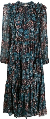 Ulla Johnson Long Sleeve Ruffled Floral Print Dress