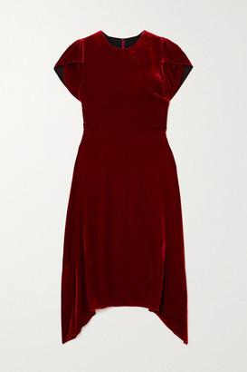 Cefinn Emily Asymmetric Velvet Dress - Red