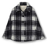Classic Little Girls Fringed Woven Cape-Black/Ivory Plaid