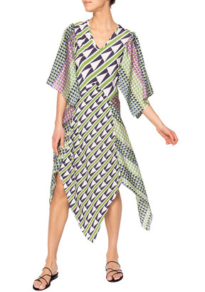 JALINE Athena Geometric Bias-Cut Panel Skirt Dress