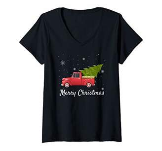 Womens Vintage Pickup Truck with Christmas Tree - Merry Christmas V-Neck T-Shirt