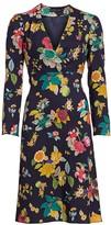 Etro Floral Bell-Sleeve Wool & Silk Dress