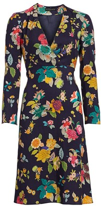 Etro Floral Bell-Sleeve Wool & Silk Dress