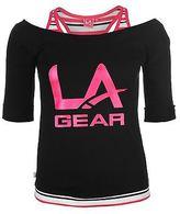 L.A. Gear Womens Mock Layer Tee Shirt Top Blouse Short Sleeve Summer Casual
