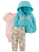 Carter's Infant Girls Baby Outfit Blue Dot Love Hoodie Bodysuit & Leggings Set 3m
