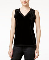 XOXO Juniors' Velvet Chiffon-Contrast Top