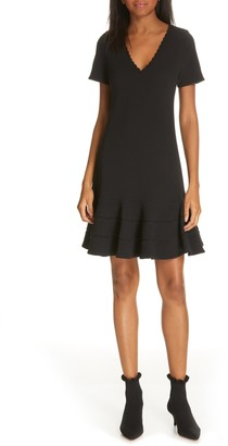Rebecca Taylor Textured V-Neck Flounce Hem Mini Dress