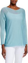 120% Lino Boat-Neck Long-Sleeve Rolled-Edge Dolman Sweater