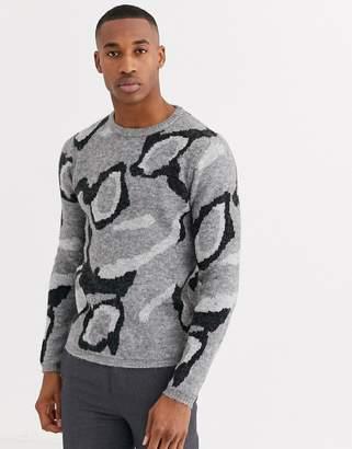 Jack and Jones wool jumper in grey leopard print