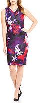 Calvin Klein Floral Printed Scuba Crepe Sheath Dress