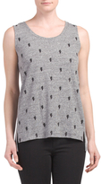 Linen Blend Cactus Embroidered Tank
