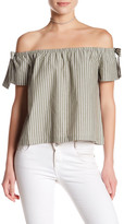 Lush Stripe Off-the-Shoulder Blouse\n