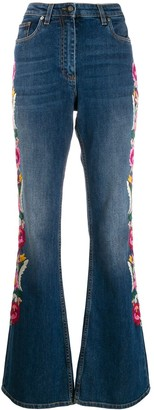Etro Floral Embroidered Flared Jeans