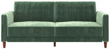 "Thumbnail for your product : Mercury Row Imani 81.5"" Velvet Square Arm Sleeper Fabric: Light Green"