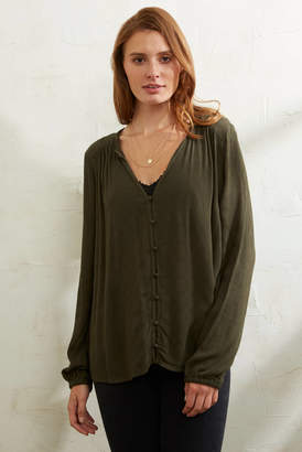Gentle Fawn Emma Covered Button Blouse Green M
