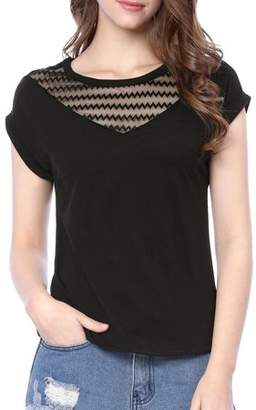 Unique Bargains Women's Sheer Chevron Embroidery Mesh Panel T-Shirt