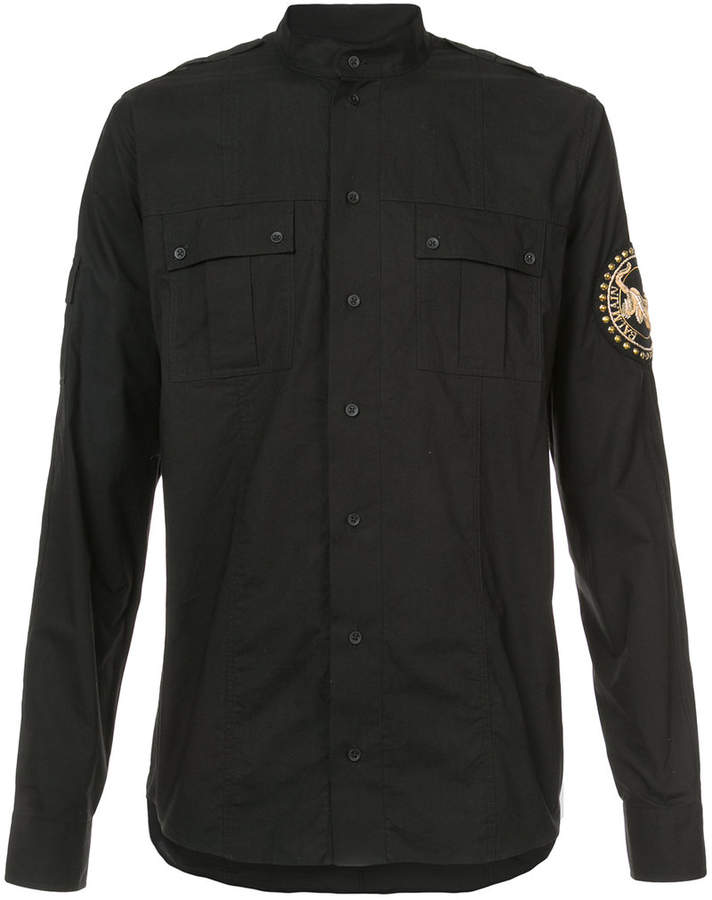 Balmain embroidered patch shirt