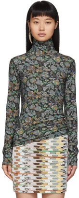 See by Chloe Green Winter Floral Turtleneck