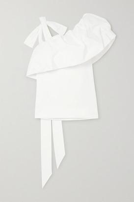 Valentino Asymmetric Gathered Cotton-blend Poplin Top - White