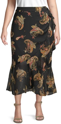 Vince Camuto Plus Paisley-Print Ruffled Wrap Skirt