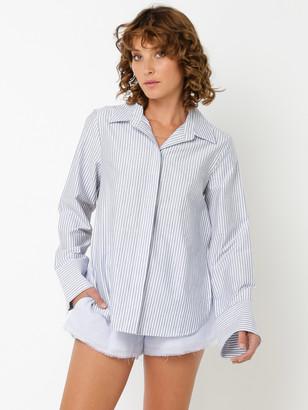 Lulu & Rose Casper Tie Back Shirt in Blue White Stripe