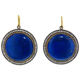 Arman Large Lapis Circles - Designer Gold Earrings