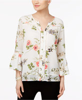 Fever Floral-Print Illusion-Sleeve Blouse