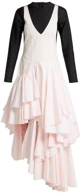 Swarovski Marine Serre - X Upcycled Woven Midi Dress - Womens - Pink