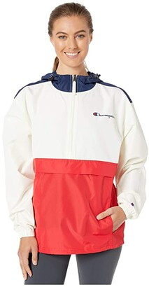 Champion Packable Jacket (Athletic Navy/Chalk White/Scarlet) Women's Clothing