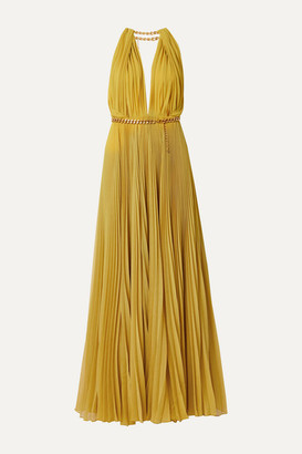 Oscar de la Renta Chain-embellished Pleated Silk-chiffon Gown - Saffron