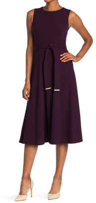 Calvin Klein Belted Sleeveless Midi Dress