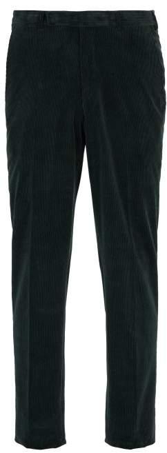 Ermenegildo Zegna Cotton And Cashmere Blend Corduroy Trousers - Mens - Green