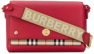 Burberry Vintage Check Leather Bag With Logo Strap