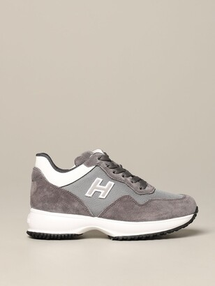 Hogan Interactive Sneakers In Suede And Micro Mesh With H Flock